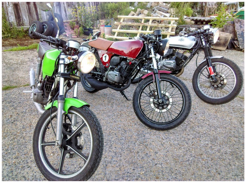 Three 30+ year old 125cc motorbikes converted to Café Racers