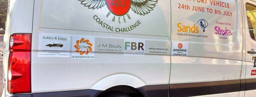 Support vehicle to Lee Marsh's Big Bike Charity Hike